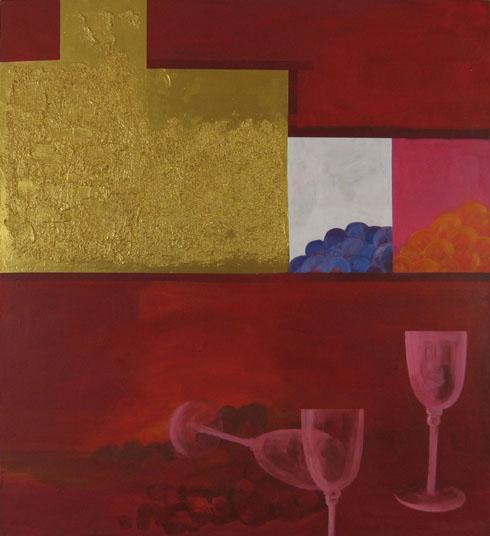 Rot, Gold, Figural, Glas, Malerei, Durst