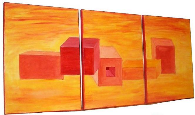 Orange, Abstrakt, Malerei, Rot