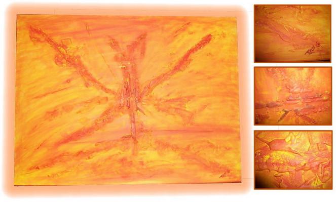 Abstrakt, Malerei, Orange, Gelb, Schmetterling