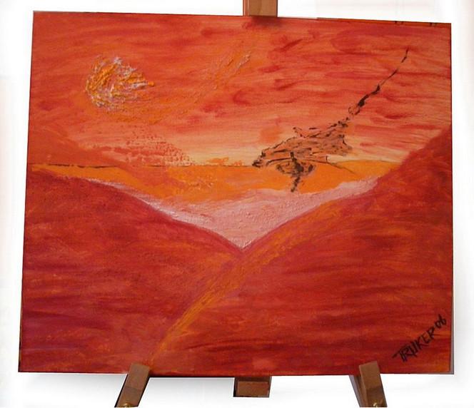Malerei, Rot, Orange, Wüste, Abstrakt