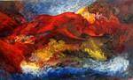 Antike, Abstrakt, Malerei, Vulkan