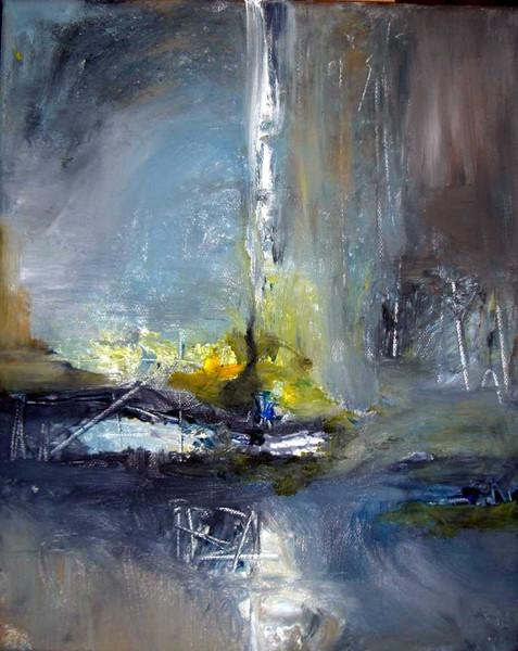 Malerei, Abstrakt, Wasserfall