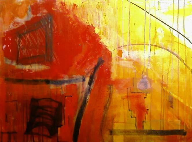 Malerei, Abstrakt, Rot, Farben, Acrylmalerei, Gelb