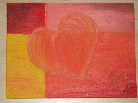 Bunt, Warm, Malerei, Herz