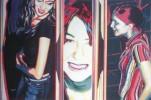 Mädchen, Malerei, Party, Portrait
