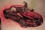 Romeo, Zweisitzer, Ledersitze, Rot schwarz