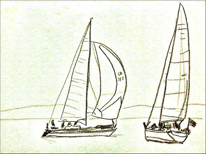 Pastellmalerei, Skizze, Malerei, Zeichnung, Segel, Segelschiff