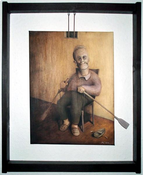 Ruderboot, Zufriedenheit, Malerei, Alter mann, Figural, Menschen
