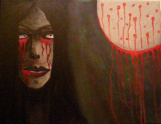 Malerei, Blut, Figural, Mond, Frau, Gesicht