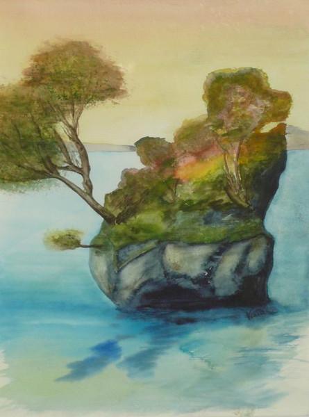 Kroatien, Wahrzeichen, Wasser, Dalmatien, Felsen, Aquarellmalerei