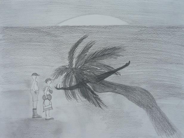 Palmen, Zeichnung, Meer, Strand, Zeichnungen,