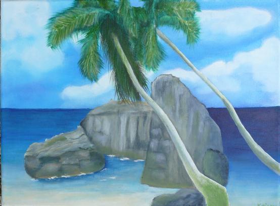 Sonne, Palmen, Felsen, Ozean, Meer, Acrylmalerei