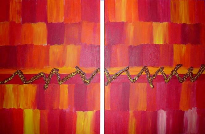 Acrylmalerei, Linie, Rot, Bunt, Spachteltechnik, Abstrakt