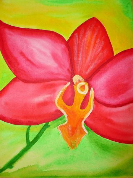 Malerei, Stillleben, Blüte, Rot, Orchidee, Blumen