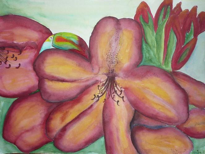 Blumen, Blüte, Vogel, Aquarellmalerei, Malerei, Stillleben