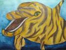 Delfin, Tiger, Aquarellmalerei, Wasser