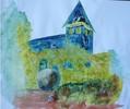 Aquarellmalerei, Landschaft, Kirche, Malerei