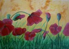 Landschaft, Blüte, Acrylmalerei, Blumen