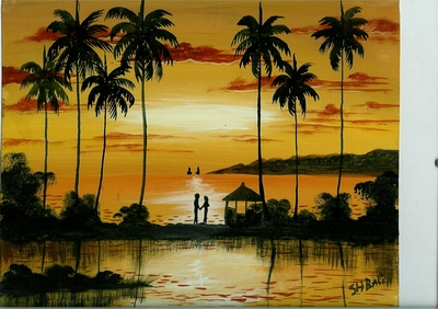 Sonne, Landschaft, Strand, Palmen, Zeichnung, Sommer