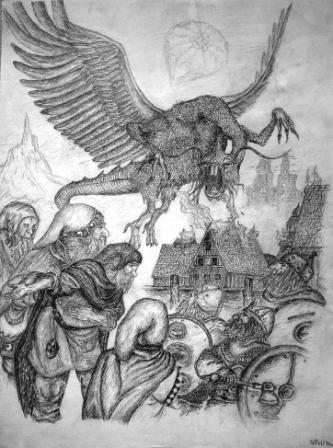Grafik, Himmel, Buchillustration, Zwerg, Zeichnung, Tiere
