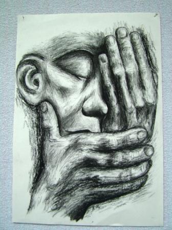 Frau, Mann, Hände, Schmerz, Kohlezeichnung, Verlust