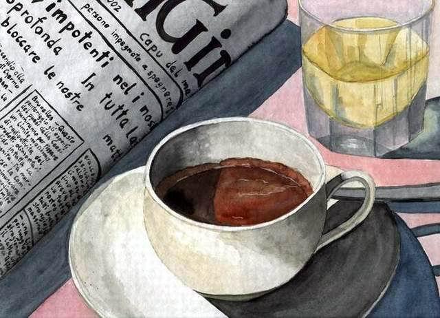 Ganz und zu Extrem Espresso - Zeitung, Stillleben, Malerei, Tasse von Thomas suske @DJ_17