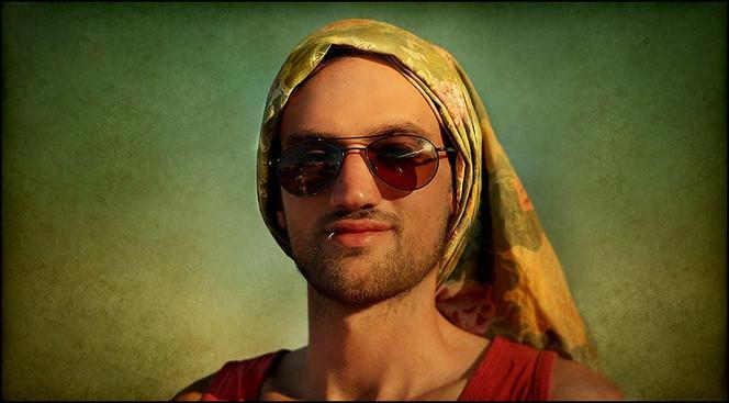 Festival, Tuch, Fotografie, Mann, Sonnenbrille, Portrait