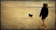 Menschen, Hund, Atlantik, Meer