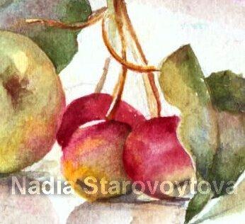 Blumen, Pflanzen, Malerei, Stillleben, Apfel, Natur