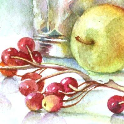 Pflanzen, Stillleben, Aquarellmalerei, Blumen, Apfel, Malerei