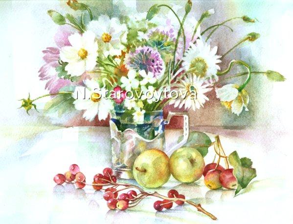 Blumen, Licht, Natur, Stillleben, Pflanzen, Aquarellmalerei