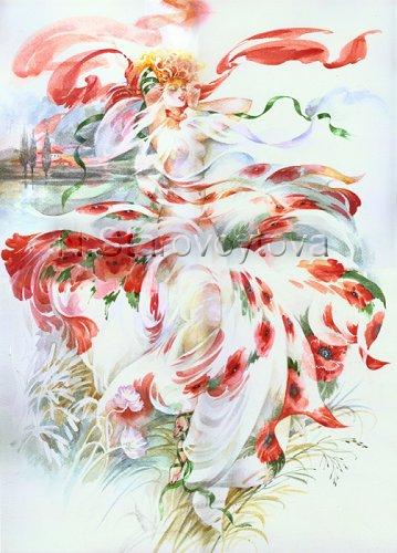 Flora, Gras, Aquarellmalerei, Grafik, Pflanzen, Frau