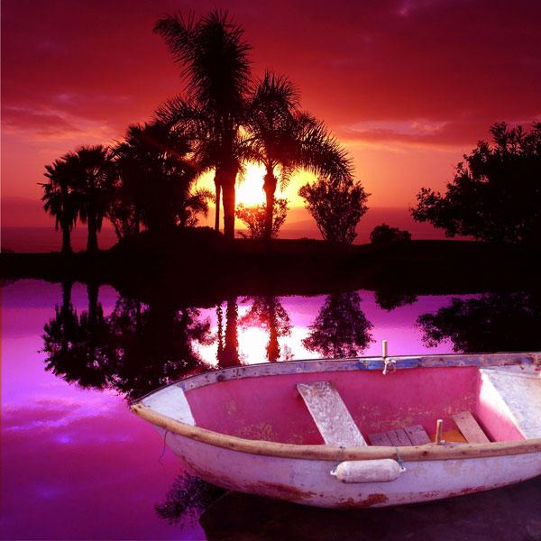 Gelb, Plakatkunst, Spanien, Meer, Rot, Sonnenuntergang
