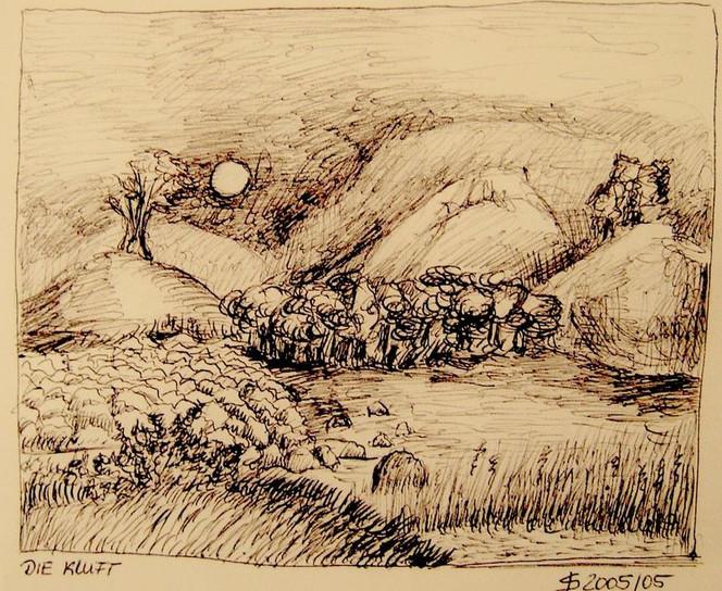Berge, Zeichnung, Stein, Landschaft, Kuli, Skizze