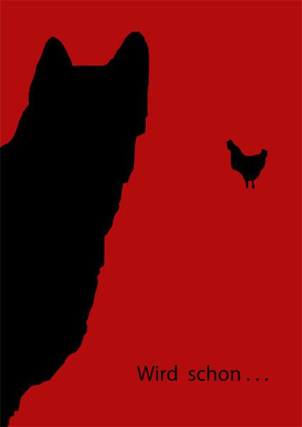 Rot schwarz, Hund, Huhn, Plakatkunst, Grafik, Tiere
