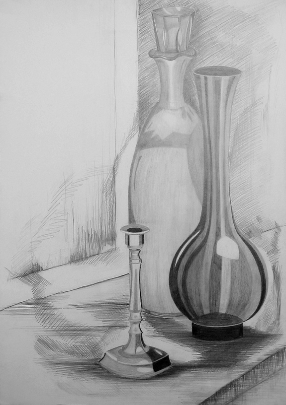Bleistiftzeichnung Stillleben Vase Bleistiftzeichnung Zeichnung