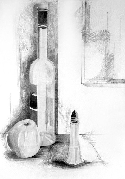 Flasche, Zeichnung, Bleistiftzeichnung, Apfel, Stillleben, Salz