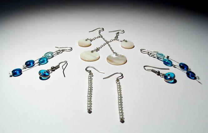 Weiß, Design, Blau, Schmuck, Ohrringe