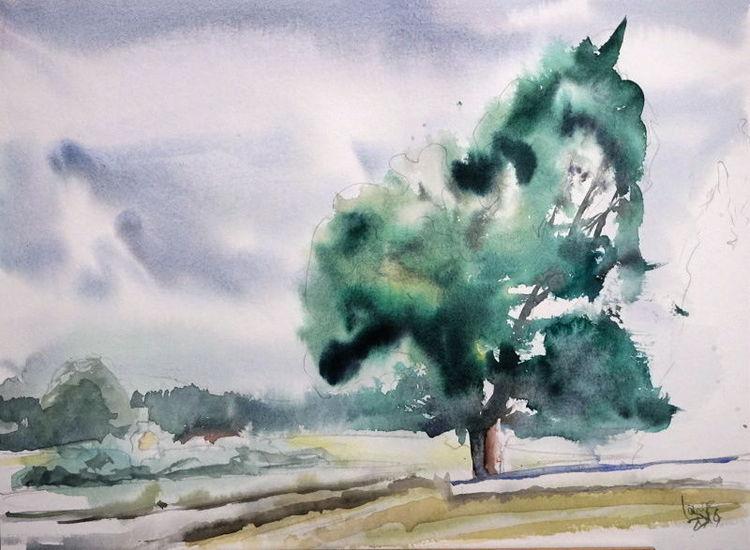 Neuburg, Eichen, Baum, Kreut, Aquarell, Naturschutzgebiet
