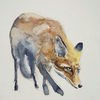 Wald, Tiere, Fuchs, Aquarell