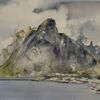 Norwegen, Berge, Lofoten, Aquarell