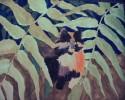 Figural, Katze, Pflanzen, Malerei