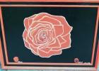 Rose, Malerei, Rot schwarz, Pflanzen
