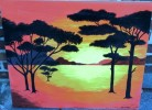 Malerei, Landschaft, Sonnenuntergang, Savanne