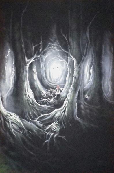 Fantasiewesen, Dunkel, Groß, Wald, Höhle, Licht