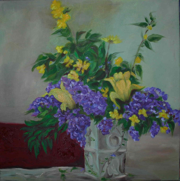 Vase, Blumen, Flieder, Tulpen, Vergissmeinnicht, Kerria