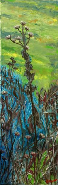 Distel, Grün, Unkraut, Blau, Malerei