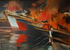Rot, Boot, Wasser, Feuer