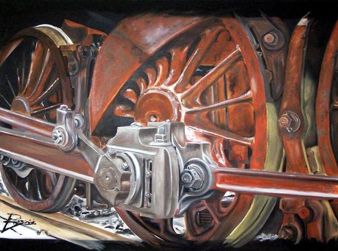 Eisenbahn, Rad, Lokomotive, Reise, Malerei, Schwarz weiß