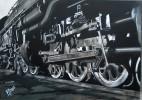 Ölmalerei, Bahnhof, Malerei, Zug